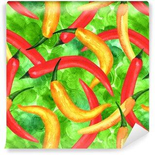 Vinylová Tapeta Bezešvé vzor akvarel chilli papričky na zelené