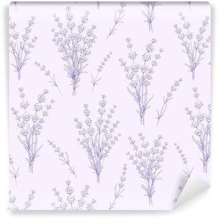 Vinylová Tapeta Bezešvé vzor levandule květiny na šedém pozadí. akvarelový vzorek s levandulí pro vzorek tkaniny. vektorové ilustrace.