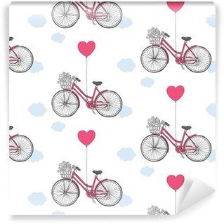 Vinylová tapeta na míru Bezešvé vzor pro Valentýna. retro kolo s květinami  a balónem. a55c642137