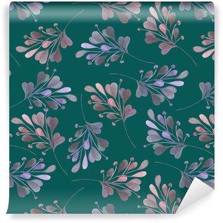 Vinylová Tapeta Bezešvé vzor s akvarelem růžové a fialové listí a větve na tmavém zeleném pozadí, svatební dekorace, ručně kresleny v pastelové