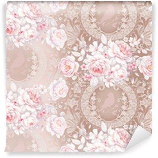 Vinylová Tapeta Bezešvé vzor s bílými růží 3
