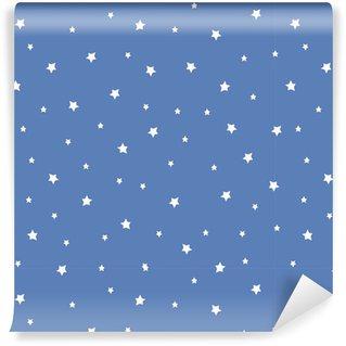 Vinylová Tapeta Bezešvé vzor s hvězdami na modrém pozadí. Noční oblohy přírodě ilustrace. Roztomilé miminko pozadí.