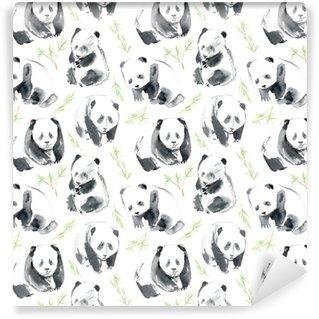 Vinylová Tapeta Bezešvé vzor s panda a bambus.postcard se zvířaty.watercolor ručně kreslené ilustrace.white pozadí.
