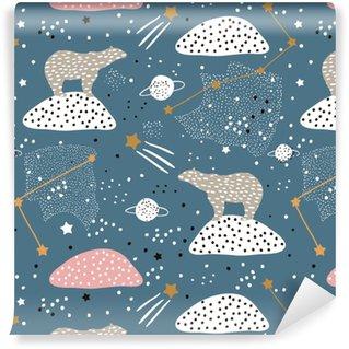 Vinylová Tapeta Bezešvé vzor s polární medvědi silueta a souhvězdí. perfektní pro textilní textilní pozadí