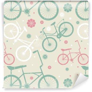 Vinylová tapeta na míru Bezešvé vzor s retro jízdních kol a květiny 923eb43813