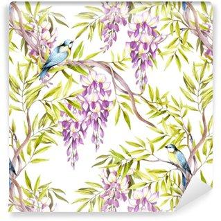 Vinylová Tapeta Bezešvé vzor s wisteria. ručně čerpat akvarel ilustraci