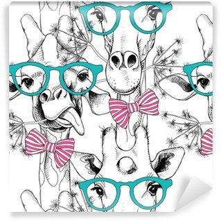 Vinylová Tapeta Bezešvé vzor s žirafy v brýlích a luk. vektorové ilustrace.