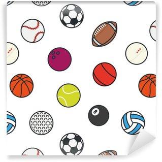 Vinylová Tapeta Bezešvé vzor sportovní míče minimální barva plochá řada vektor ikona nastavit. fotbal, fotbal, tenis, golf, bowling, basketbal, hokej, volejbal, rugby, bazén, baseball, ping pong