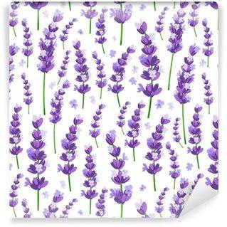 Vinylová Tapeta Bezešvé vzorek provence fialové levandule květiny na bílém pozadí. vektorové ilustrace.