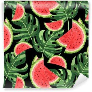 Vinylová Tapeta Bezešvé vzorek s meloun a tropické listí v pozadí. vektorové ilustrace.