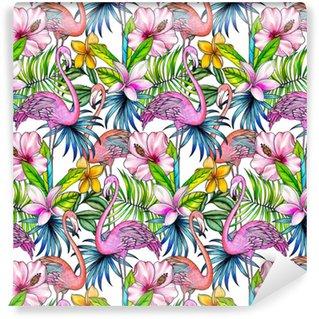 Vinylová Tapeta Bezešvé vzorek s tropickými květinami a plameňákem.