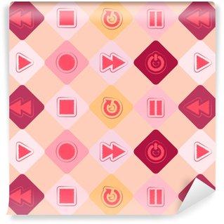Vinylová Tapeta Bezproblémové pozadí s ikonami přehrávače