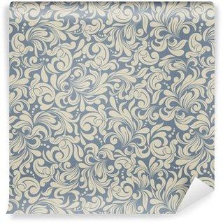 Vinylová Tapeta Bezproblémové pozadí světlé béžové a modré barvy ve stylu damašku