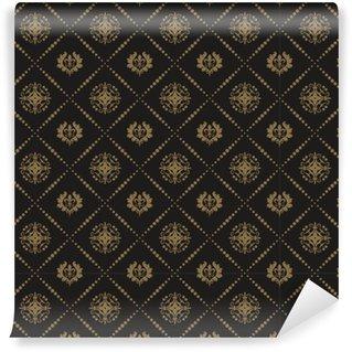 Vinylová Tapeta Bezproblémové tapety damaškové černé