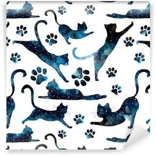 Vinylová Tapeta Bezproblémové vzorek akvarel hvězdné oblohy a kočky