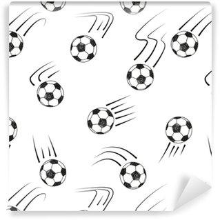 Vinylová Tapeta Bezproblémové vzorek s koulemi doodle fotbal. černé a bílé vektorové fotbalové pozadí.