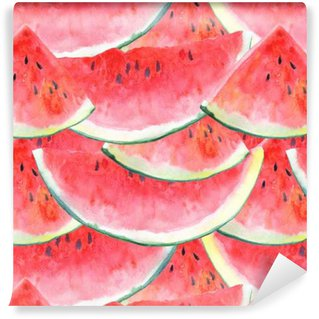 Vinylová Tapeta Bezproblémové vzorek s watermelon.Fruit picture.Watercolor rukou nakreslený obrázek.