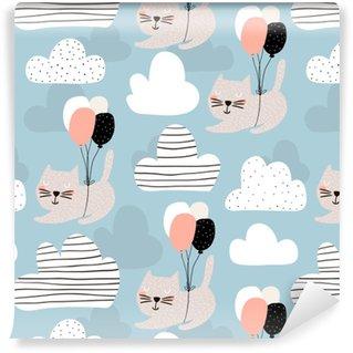 Vinylová Tapeta Bezproblémový dětinský vzor s roztomilými kočkami létáním balónem. kreativní pozadí školky. perfektní pro děti design, tkanina, balení, tapety, textil, oděvy