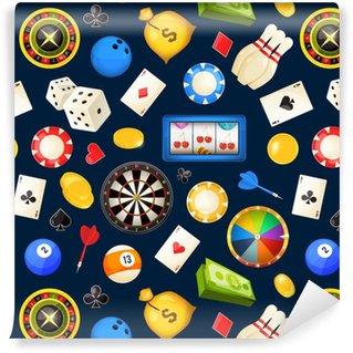 Vinylová Tapeta Bezproblémový vzor s hazardními hrami a dalšími kasinovými zábavy. poker, kostky vektorové ilustrace