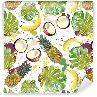 Vinylová Tapeta Bezproblémový vzor s tropickým ovocem, palmovými listy a sprejy