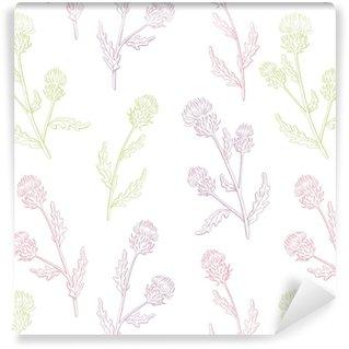 Vinylová Tapeta Bodlák květina grafický barva bezešvé vzor náčrtek ilustrace vektor
