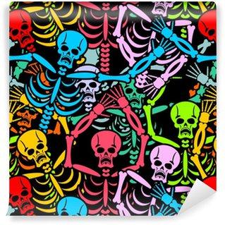 Vinylová Tapeta Den mrtvých skeletů a sombrero. vícebarevná lebka v m
