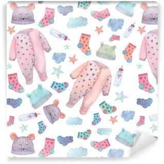 Vinylová Tapeta Dětské oblečení ilustrace v bezproblémovém vzoru. roztomilé věci v jemných barvách: kostýmy, ponožky, klobouky a láhve. malované v akvarelu.