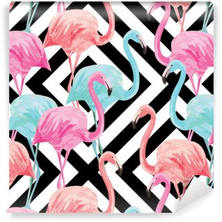 Vinylová Tapeta flamingo watercolor pattern, geometric background