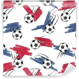 Vinylová Tapeta Fotbalové míče bezešvé vzor s míčky a vlajkami. Vector mistrovství fotbal pozadí.