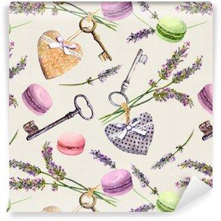 Vinylová Tapeta Francouzské venkovské pozadí - levandule květiny, macaroon koláče, vintage klíče, textilní srdce. bezešvé vzor. vodové barvy
