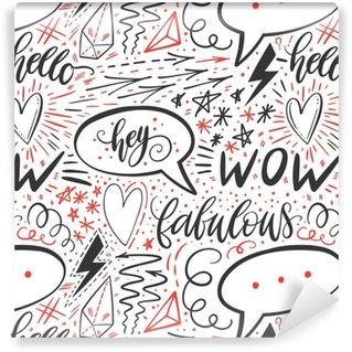 Tapeta na wymiar winylowa Kaligrafia strony napis wzór. pozytywne znaki, gwiazda, serce, dymki, formy geometryczne. idealny do druku, tekstyliów, t-shirtów, futerałów na telefon. nowoczesna powierzchnia. ilustracji wektorowych