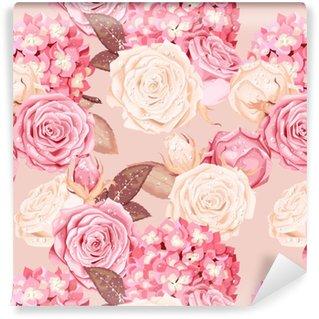 Vinylová Tapeta Krásné růže a hortenzie bezproblémové