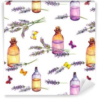 Vinylová Tapeta Květiny levandule, lahve na olejové parfémy, motýly. opakující se vzorec pro kosmetický, parfémový, kosmetický design. vintage akvarel