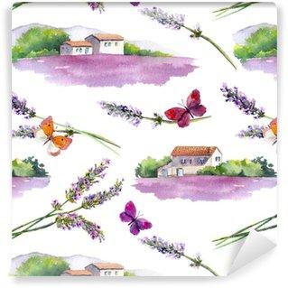 Vinylová Tapeta Levandule pole, levandule květiny, motýly s venkovskými hospodářskými budovami. opakující se vzorec. vodové barvy