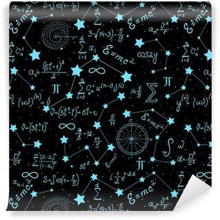 Vinylová Tapeta Matematický astrofyzický vektor bezešvé vzorec s vzorce, čísla a výpočty ručně psané na pozadí hvězd. vědecký prostor nekonečná struktura