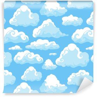 Vinylová Tapeta Modrá obloha s bílými oblaky. ručně kreslený bezešvý vzorek. vektorové ilustrace v kresleném stylu