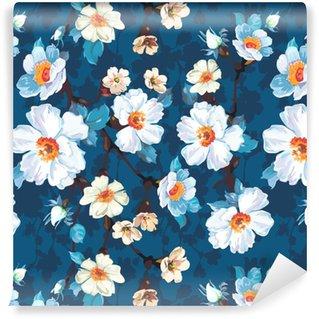 Tapeta na wymiar winylowa Niebieski kwiatowy wzór