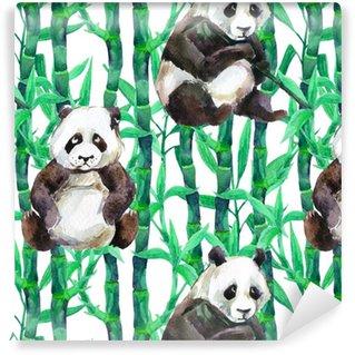Vinylová Tapeta Panda s bambusovým akvarelem bezproblémové vzorek