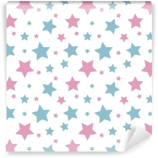 Vinylová Tapeta Pastelové barevné hvězda růžová modrá na bílém pozadí vzor bezproblémové vektor