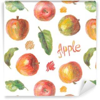 Vinylová Tapeta Pastelové jablka s listy bezešvé vzor. ručně kreslené umělecké ovoce opakovatelné pozadí s olejovými pastely. barevné ilustrace.