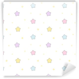 Vinylová Tapeta Roztomilý kreslený barevné hvězdy bezešvé vektorový vzor na pozadí ilustrace