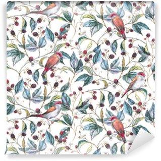 Vinylová Tapeta Ručně kreslený akvarel bezproblémový vzorek s přírodními motivy: ostružinové větve, listy, bobule a divoké ptáky - plody. opakované pozadí, tisk pro textil a tapety