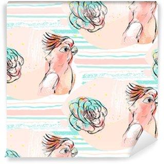 Vinylová Tapeta Ručně tažené vektorové abstraktní koláže bezešvé vzor s tropickým papouškem a šťavnaté květiny v pastelovém pozadí na mozku ručně vyrobené textura izolovaných na bílém pozadí.wedding, narozeniny, tkanina.