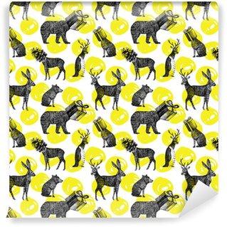 Vinylová Tapeta Rukou nakreslený zimní zvířata bezešvé pozadí