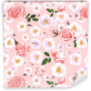 Vinylová Tapeta Růže bezproblémové vzorek. kytice jemných květin a větviček. vektorové ilustrace eps10