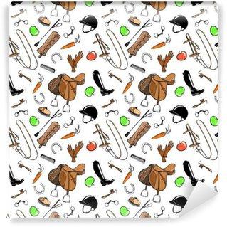 Vinylová Tapeta Sada jízda na koni připínáček nástroj na bílém. Bezproblémové vzorek s ohlávka, kousek, kloboukem, uzdy, sedla, štětec, třmen, bič, vysoké boty. Vektor kreslený ručně kreslenými ilustrace.