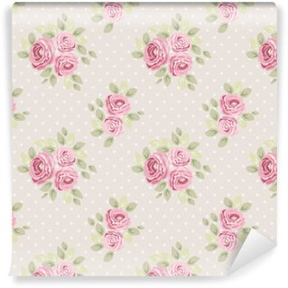 Vinylová Tapeta Sada roztomilých bezšvíkových ošumělých vzorů s růžemi, polka dot a pruhovaná, ideální pro kuchyňské textilní nebo ložní prádlo nebo interiérové tapety, může být použita pro výmaz papíru atd.