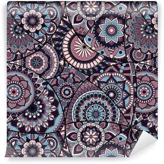 Płytka wzór z mandali. zabytkowe elementy dekoracyjne. ręcznie rysowane tła. motywy islamu, arabskie, indyjskie, otomańskie. idealny do drukowania na tkaninie lub papierze.