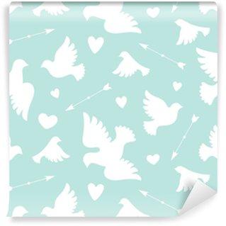 Wzór z gołębiami białe miłości, serca, strzały. symbol i znak miłości na kolor tła. projekt graficzny papier pakowy, tapeta, tło na walentynki. ilustracji wektorowych
