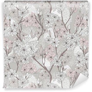 Vinylová Tapeta Seamless cherry blossom květy vzor. Abstraktní květinový vzor
